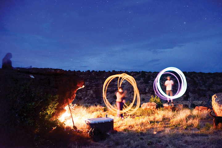 campsite at night with photography lighting effect