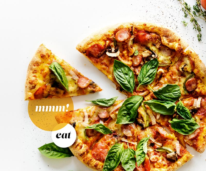 Visit Trinidad, CO eat local cuisine. Pizza image with words 'mmmm' and 'eat' displayed