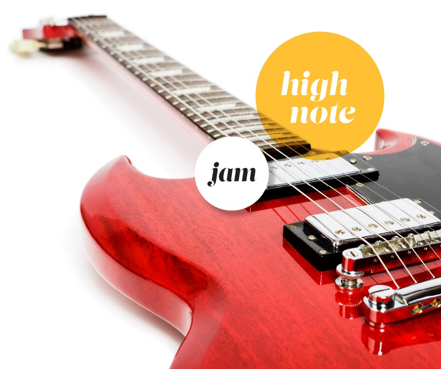 red guitar laying on its back with a white background and highlighted words: Jam and High Note