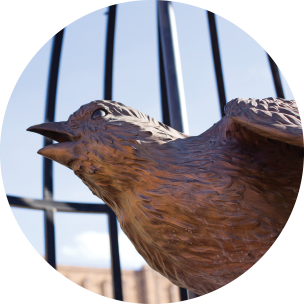 close up picture of a bronze bird sculpture in a large cage