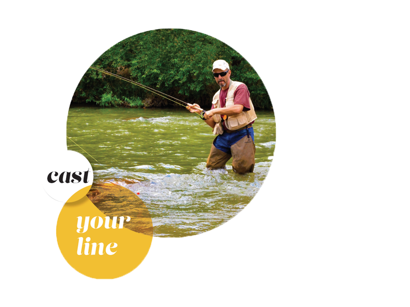 Outdoor recreation activities like fly fishing. Title text: cast your line