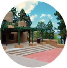circular image of rest area by lake