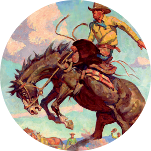 an image depicting artwork of a cowboy riding a bucking bronco