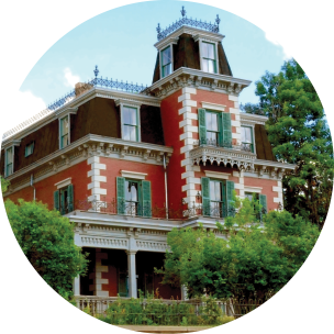 circular image of a historic house in trinidad colorado