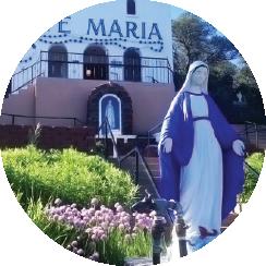 Circular image of the Ave Maria Shrine