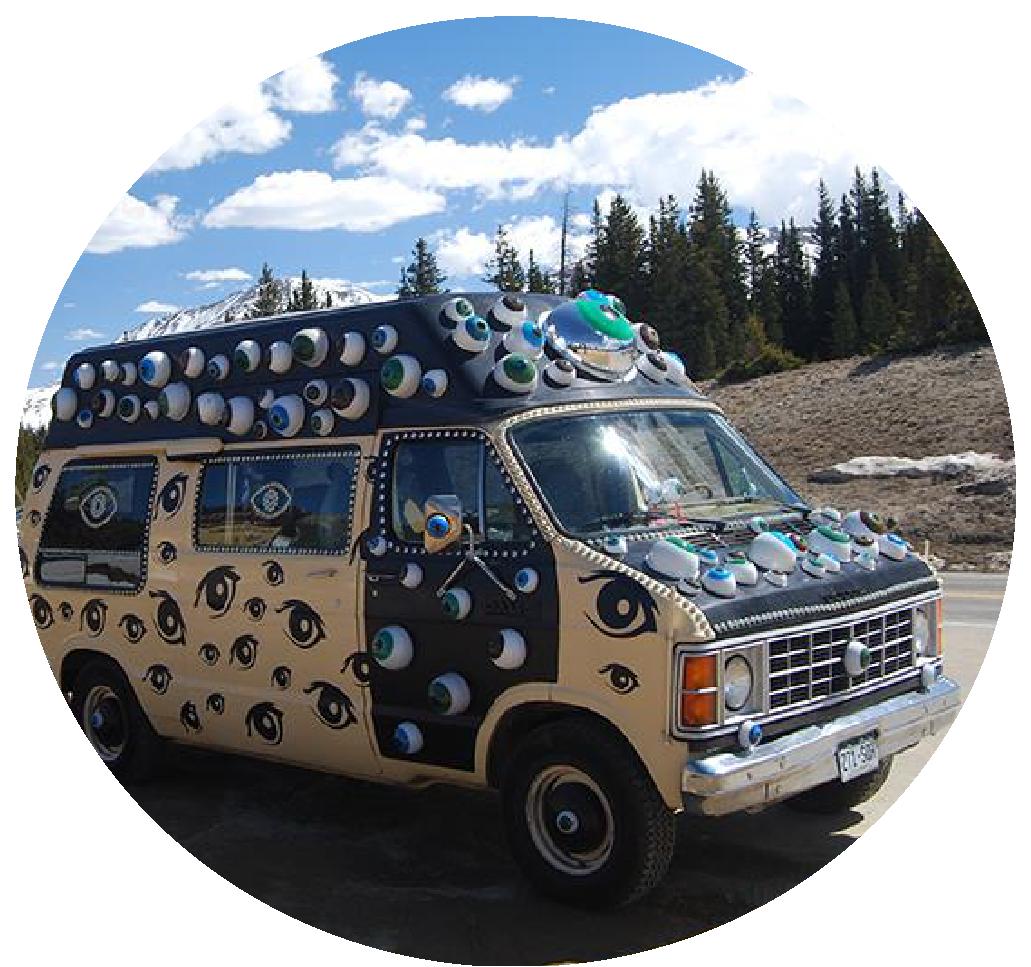 Circular photo of Eyevan, an art car belonging to Art Cartopia Museum in Trinidad, Colorado