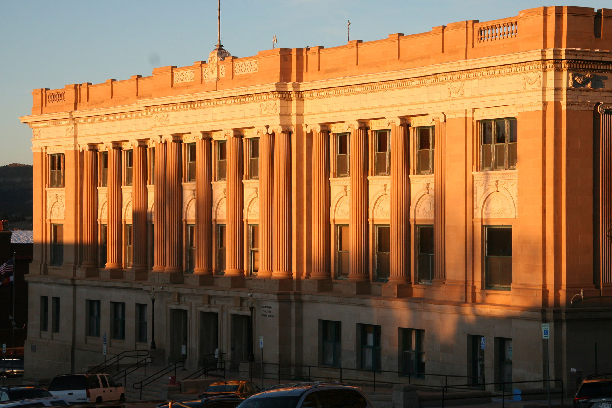 Photo of county courthouse at sunset
