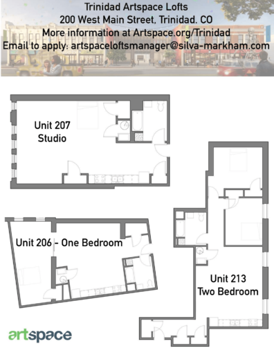 Floorplan numbers 1, 2, and 3 for Artspace Live/work apartments for rent