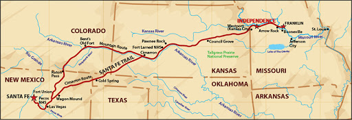 Map of Santa Fe Trail route stretching from Independence, Missouri to Santa Fe, New Mexico