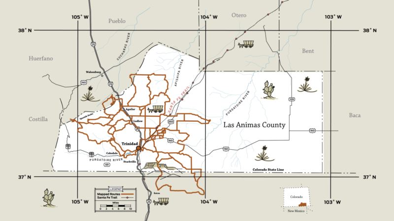 Map of Las Animas County and gravel routes from Gravel Guide